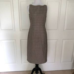 TWEED SHIFT DRESS BEIGE PLAID BANANA REPUBLIC